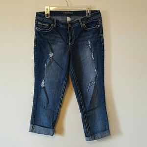 Maurices Distressed Denim ankle crop jeans